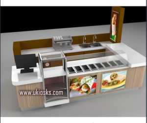 wooden cabinet new design for crepe kiosk in mall