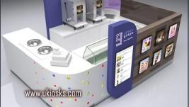wooden cabinet ice cream kiosk | yogurt kiosk design in mall for sale