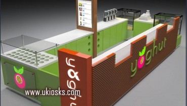 high quality customized frozen yogurt kiosk design in mall for sale