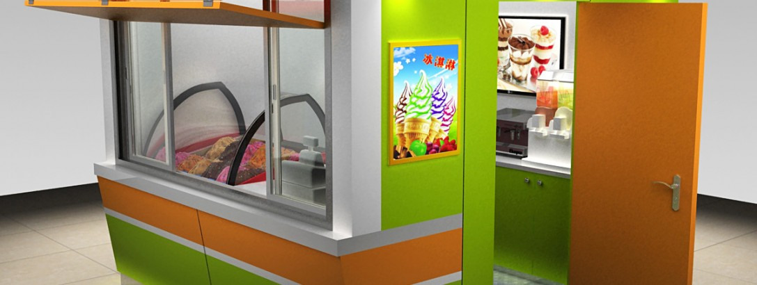 3 sets ice cream kiosk for outdoor used to USA
