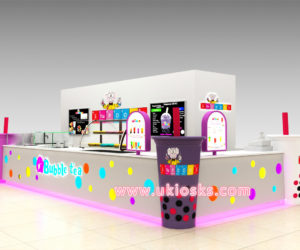 Attractive mall food bubble tea kiosk with cup shape design