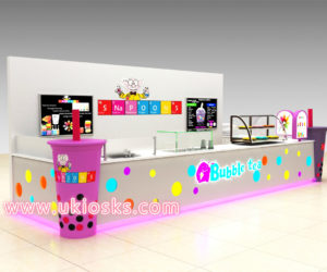 high-end bubble tea kiosk design in mall for sale