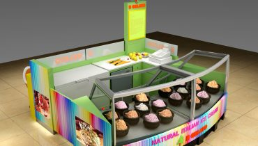 Colorful mall food kiosk ice cream kiosk design in mall for sale