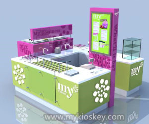 Mall wood modern food kiosk design for frozen yogurt kiosk
