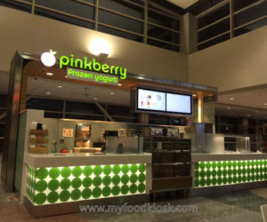 pinkberry frozen yogurt kiosk design for shopping mall