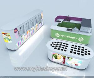 Self-help yogurt kiosk  station design for shopping mall