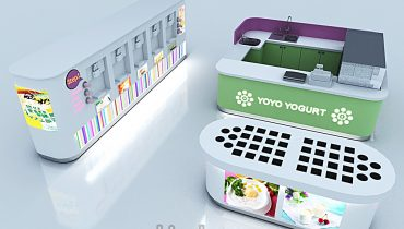Self-help yogurt kiosk  station design for shopping mall