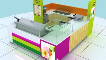 colorful ice cream kiosk design for shopping mall
