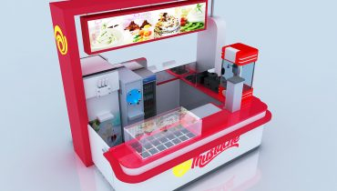 White ice cream kiosk with a bar counter design for sale