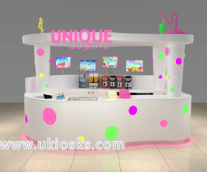 Hot selling mini bubble tea kiosk design for shopping mall