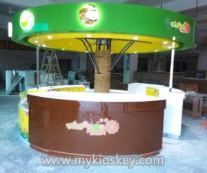 customized high end tree shape juice kiosk in mall for sale