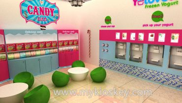 Modern customized retail mall frozen yogurt shop interior design