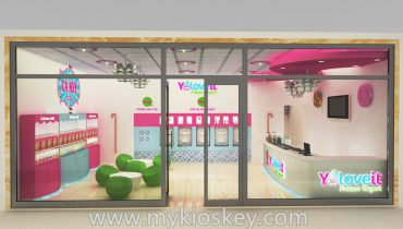 Newest customized frozen yogurt kiosk shop design for sale