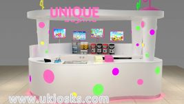 Wooden bubble tea kiosk with colorful led light for sale