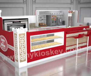 high end customized food kiosk egg tart display showcase