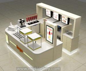 Customized beige frozen yogurt kiosk design in mall