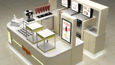 Customized beige frozen yogurt kiosk design in mall