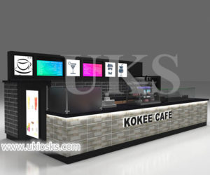 high end customized KOKEE CAFE bubble tea kiosk for sale