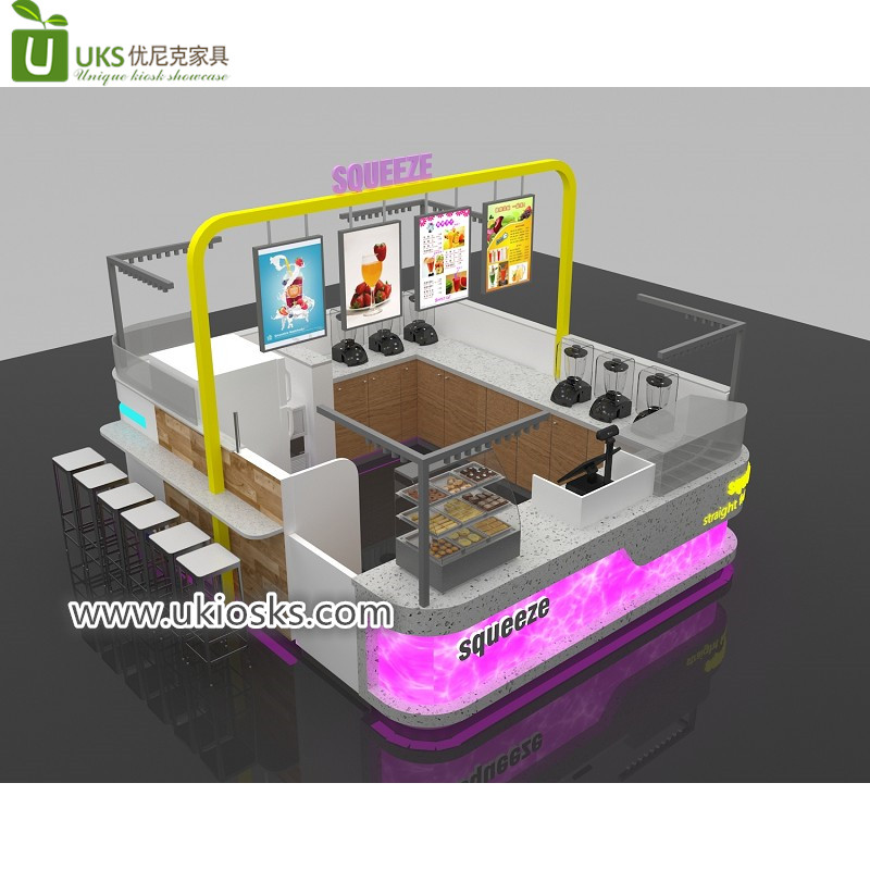 Popular exquisite wooden mall juice bar kiosk with high quality for USA