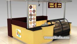 3×3 wooden donut kiosk with bakery display showcase design