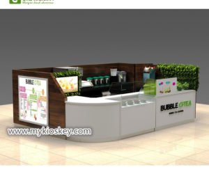 Popular Wooden healthy bubble tea kiosk for shopping mall