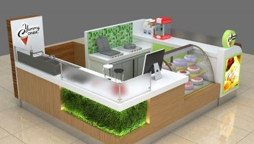 hot sale customized made  ice cream kiosk with cupcake display in mall