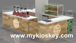Fresh juice bar kiosk shop counter design for shopping mall