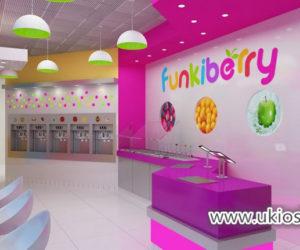 Fresh yogurt shop furniture with wooden juice bar counter design