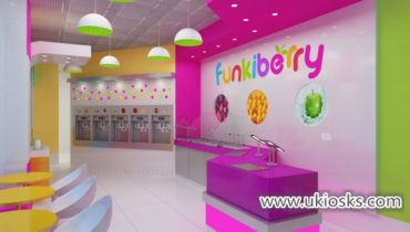 Fresh yogurt shop furniture with wooden juice bar counter design