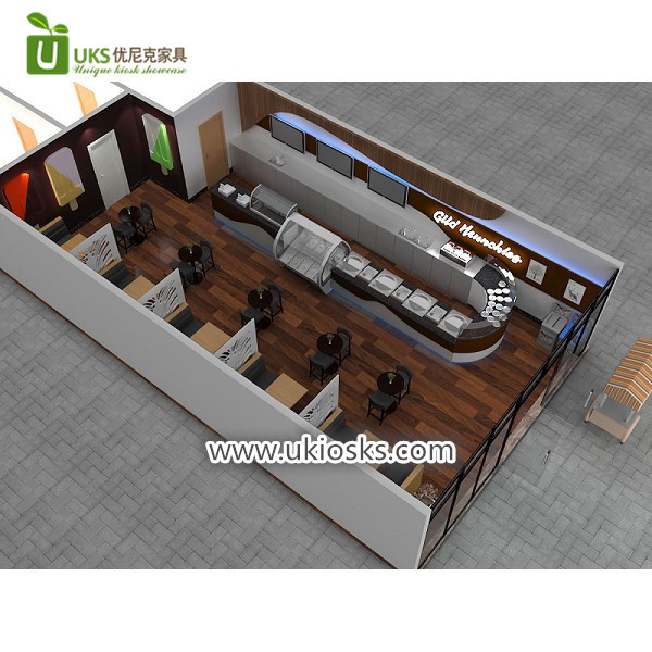 Most popular mall food ice cream shop furniture decoration design
