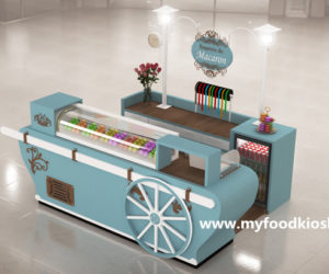 Elegance macaron kiosk with bakery display kiosk design