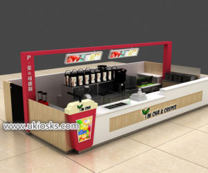 Mall food YIN CHA & CREPES with bubble tea kiosk design for sale