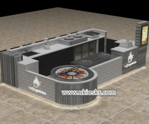 Mall food fried ice cream kiosk with bar counter design for sale
