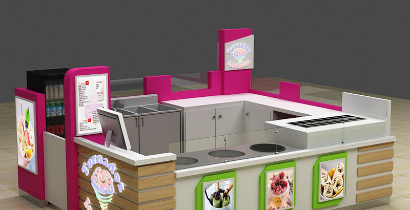 Best selling mall food gelato fried ice cream kiosk design for United States