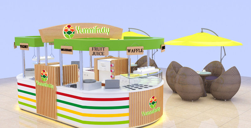 juice bar kiosk design with multifunctional commercial used food kiosk for share