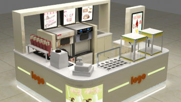 10X10 mall food soft ice cream kiosk with smoothie counter design