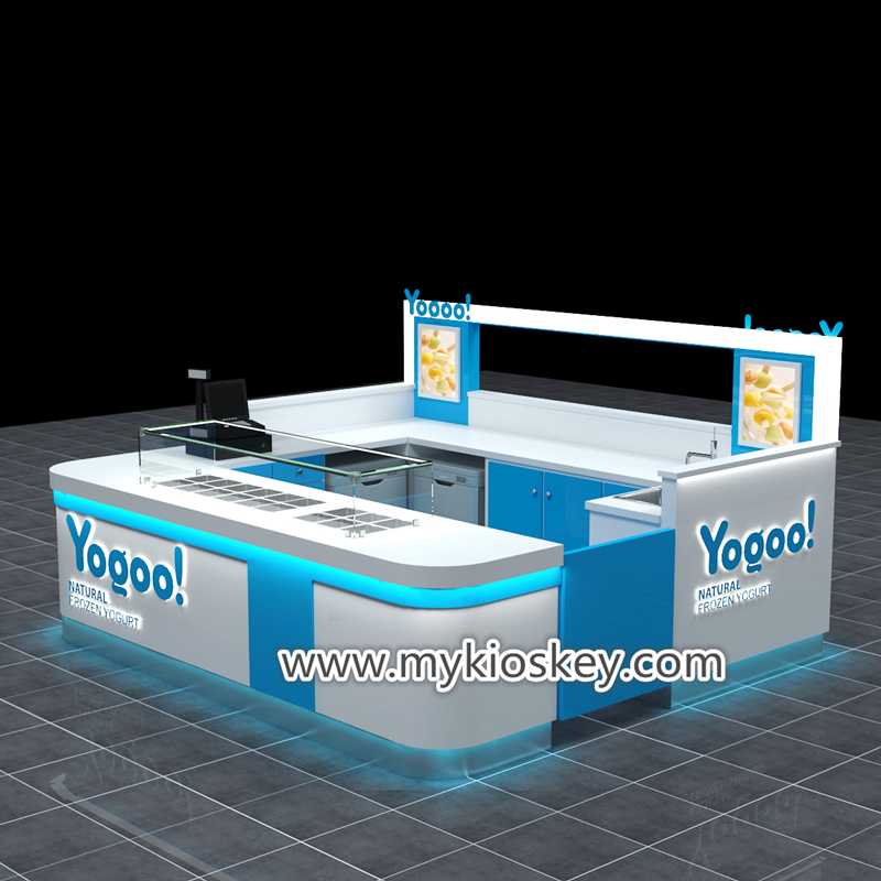 Popular Attractive Natural frozen yogurt kiosk for shopping mall