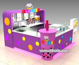 Lovely Mr bubble tea kiosk with colorful led light decoration