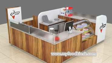 Attractive yummy ice cream kiosk with yogurt bar for shopping mall