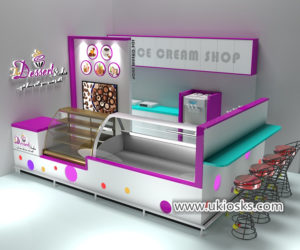 eye-catching Colorful ice cream shop design with dessert display showcase