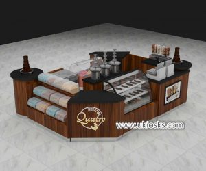 Wooden multifunction mall food chocolate kiosk design