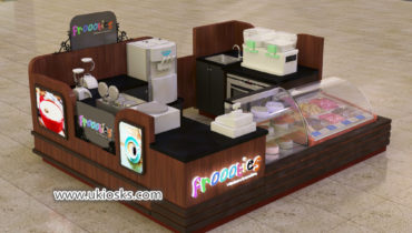 Shiny Wooden dipping ice cream kiosk with cake showcase service