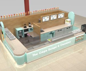 Best selling retail food crepe kiosk design for sale