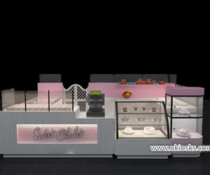 Romantic sweet dessert kiosk with cake display showcase design for shopping mall