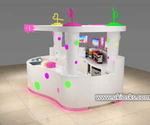 high end Creative bubble tea kiosk with colorful acylic light  decoration design