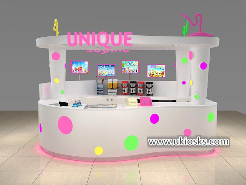 Unique bubble tea kiosk with colorful acylic lightdecoration design