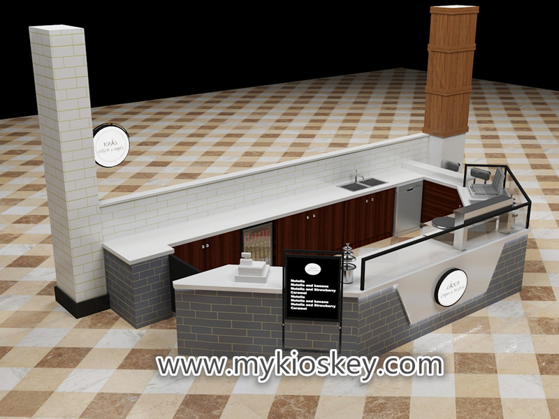 Crepe kiosk design with fast food kiosk counter export New