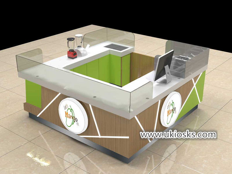 Creativity mall food mango display kiosk with beverages display service