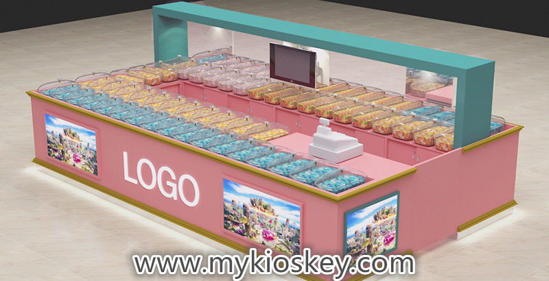 United stated popular candy kiosk design and display showcase for sale