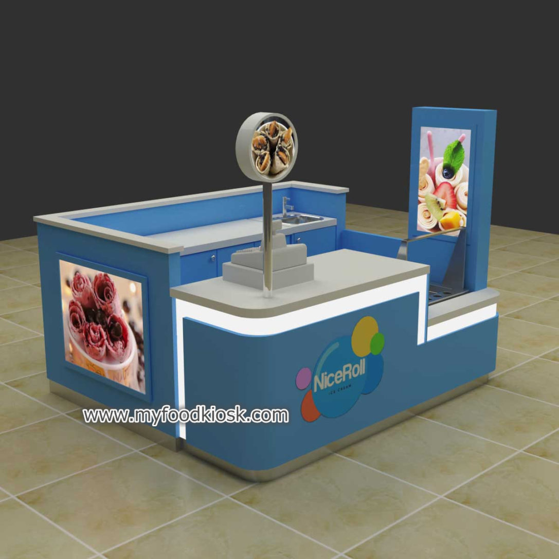 high end ice cream roll kiosk manufacture with good price
